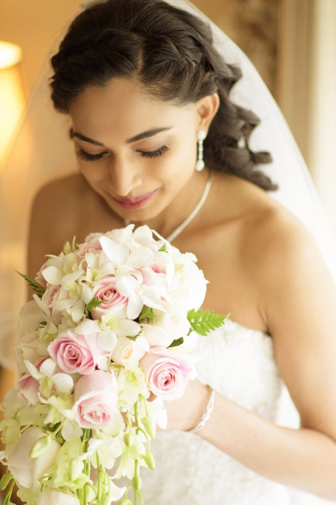 Sunshine Coast bride with natural hair and makeup applied